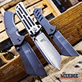 Buckshot Knives 3 PC TACTICAL CAMPING Assisted Open 8.5″ TANTO Folding Pocket Knife + 8″ CLEAVER Folding Pocket Knife + 6.5″ EDC Little Cleaver RAZOR Blade Gift Set Father's Day (Combo 1)