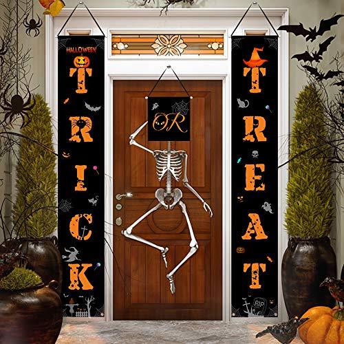 Halloween Set Decorations (AOSTAR Halloween Decorations Porch Sign - Trick or Treat Banner Set Halloween Welcome Hanging Porch Sign Decoration for Indoor/Outdoor Home, Front Door Display,)