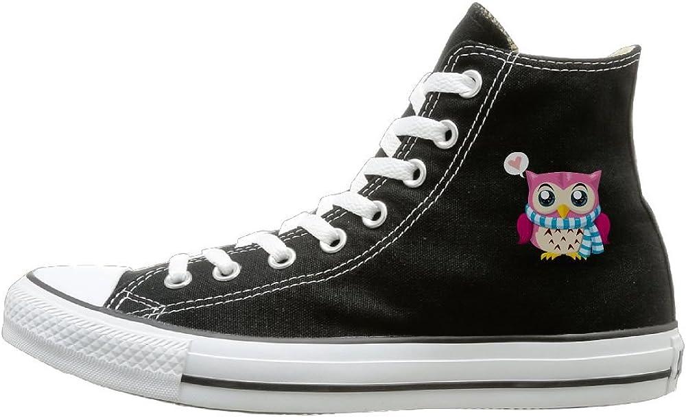 Buecoutes Cartoon Owl Canvas Shoes High Top Design Black Sneakers Unisex Style
