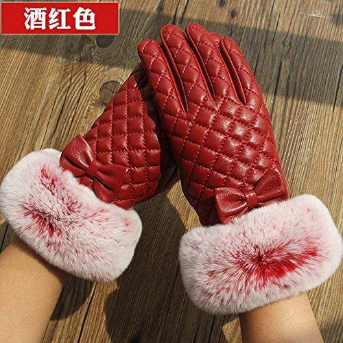 gants en cuir avec écran tactile, cravate, gants de réchauffement hivernal des dames