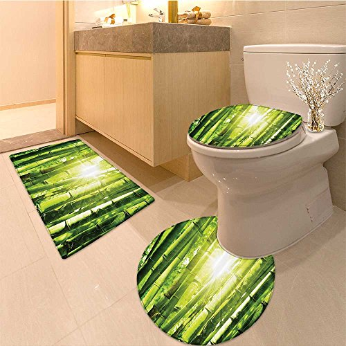 3 Piece large Contour Mat setAsian Asian River with Cherry Blossoms and Boat Cultura Hints a Vie Artsy Work Extral Bathroom Rugs Contour Mat Lid Toilet Cover