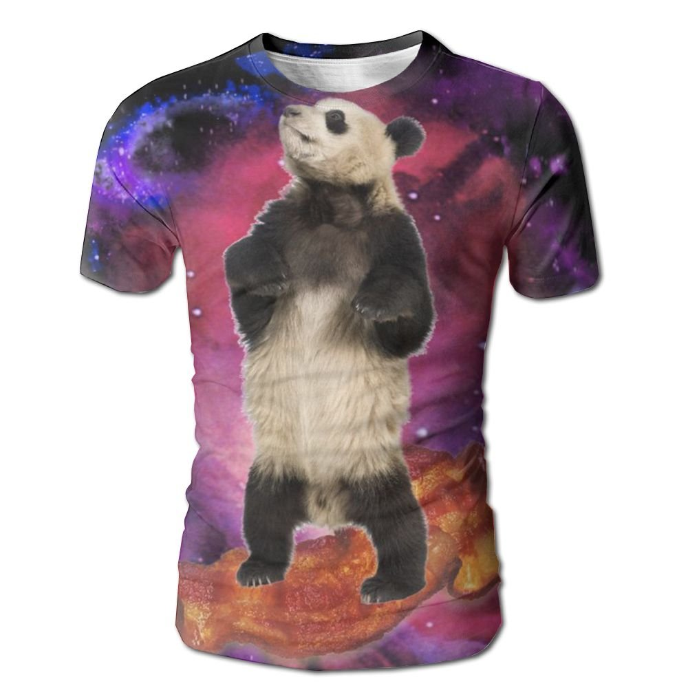 DONGFANGZHAN Men's Short Sleeve T-Shirt Galaxy Panda Full Print Comfortable Tees Tops