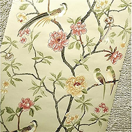 XMQCBirds Trees Flowers Chinoiserie Wallpaper Rof S Birds Tree Blossom Statement 3D Wall Paper