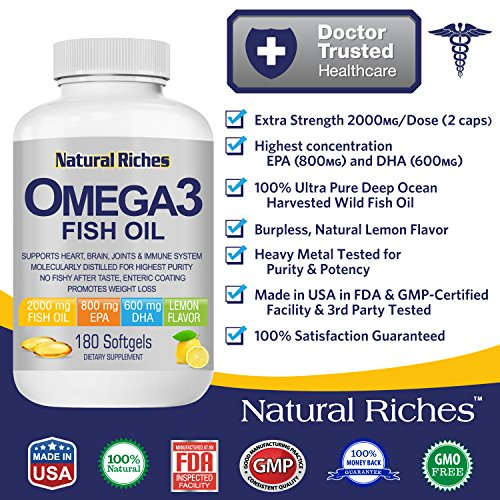 Omega 3 fish oil supplement from natural riches 180 for Pro omega fish oil