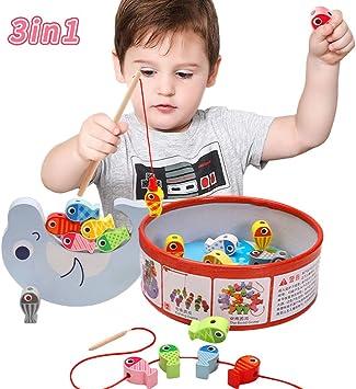 Arkmiido Juguete de Pesca Magnética de Madera Mesa, con 18 Peces , Juguete de Madera para niño ,Juego de Equilibrio, Cuentas de Madera para niños 3 4 5 6 Años.: Amazon.es: Juguetes y juegos