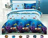 HUAJIE 3 Piece Set Beautiful Soft 3d Print Vivid Animals Pattern Box Stitched Comforter Set (1 Comforter,2 Pillowcase) (King, Ocean Coral Fishes)