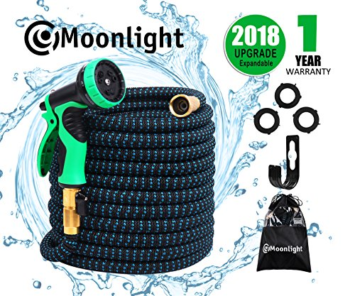 """""""NEW' 50ft Expandable Garden Hose – Expanding Water Hose with 3/4 Solid Brass Fittings, Double Latex Core & Extra Strength Fabric – Flexible Lightweight Outdoor Yard Hose with 9 Function Spray Nozzle"""