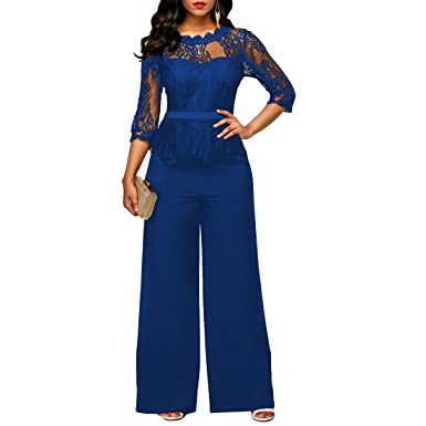 plus tard style à la mode nouveau style de 2019 YYF Femme Combinaison avec manches en dentelle partie de soiree les  Combinaisons Jumpsuit Pantalons Rouge Vert Noir et Bleu