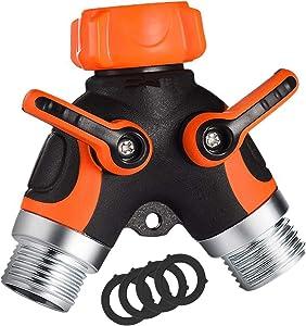 uomio 2 Way Garden Hose Splitter, Y Shape Garden Hose Adapter with 2 Hose Shut Off Valve - 3/4