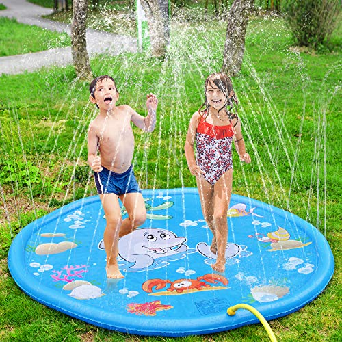 BATTOP Splash Play Mat 68in-Diameter Outdoor Water Play Sprinklers Summer Fun Backyard Play for Infants Toddlers and Kids (Blue)
