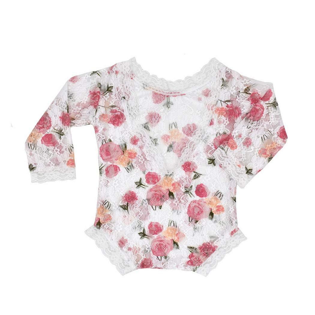 Asatr Fashion Print Long Sleeve Lace Print Baby Romper Photograph Prop Active Sets