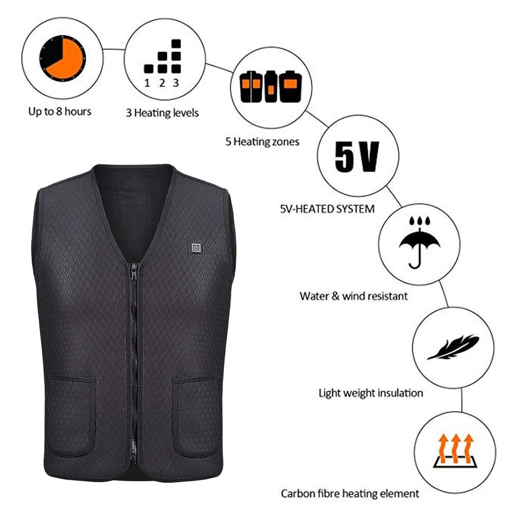 Heated Vest, Outdoor Riding Skiing Fishing USB Charging Heated Clothing Warmer Down Vest Heated Clothing for Outdoor Hike and Camp Zaote