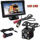 """Sistema de cámara de marcha atrás, monitor en color 4Pin 4.3 """"TFT LCD HD 800x480, visión nocturna infrarroja impermeable 4LED, con kit de Calbe 5M para RV / BUS / Turck / trailer"""