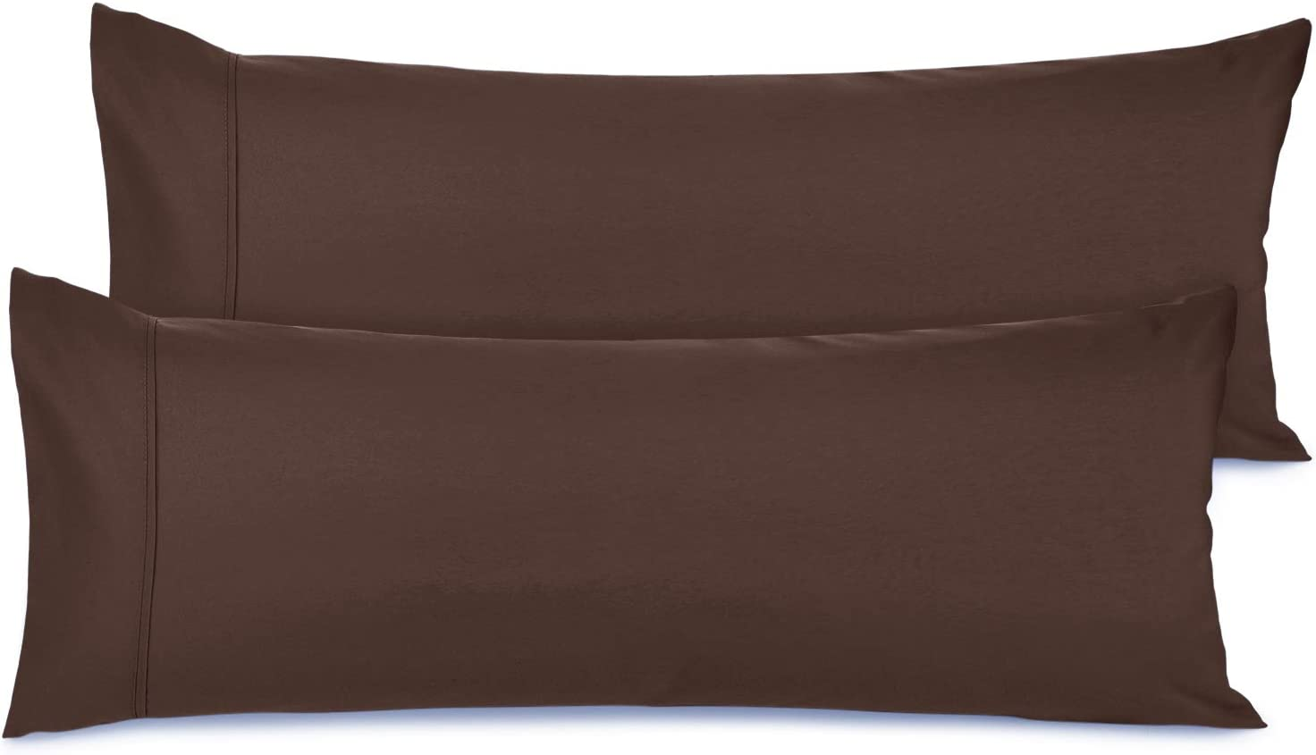 """Nestl Bedding Body Pillow Case Set of 2 - Double Brushed Microfiber Hypoallergenic Pillow Covers - 1800 Series Premium Bed Pillow Cases, 20""""x54"""" - Brown"""