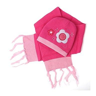 866065187db0 Trifolium - Ensemble bonnet, écharpe et gants - À Fleurs - Fille - rose -  Taille unique  Amazon.fr  Vêtements et accessoires