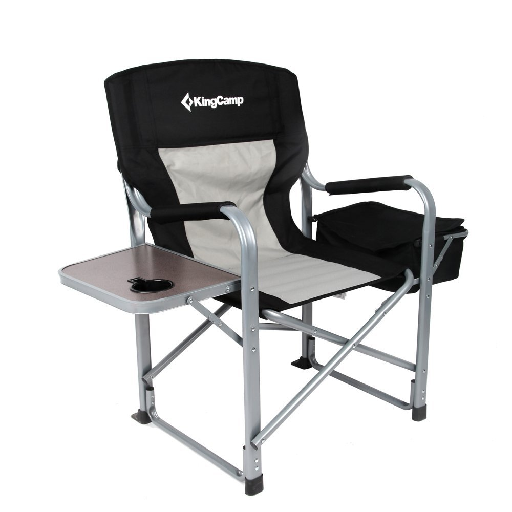 KingCamp Heavy Duty Folding Director's Chair with Cooler Bag and Side Table