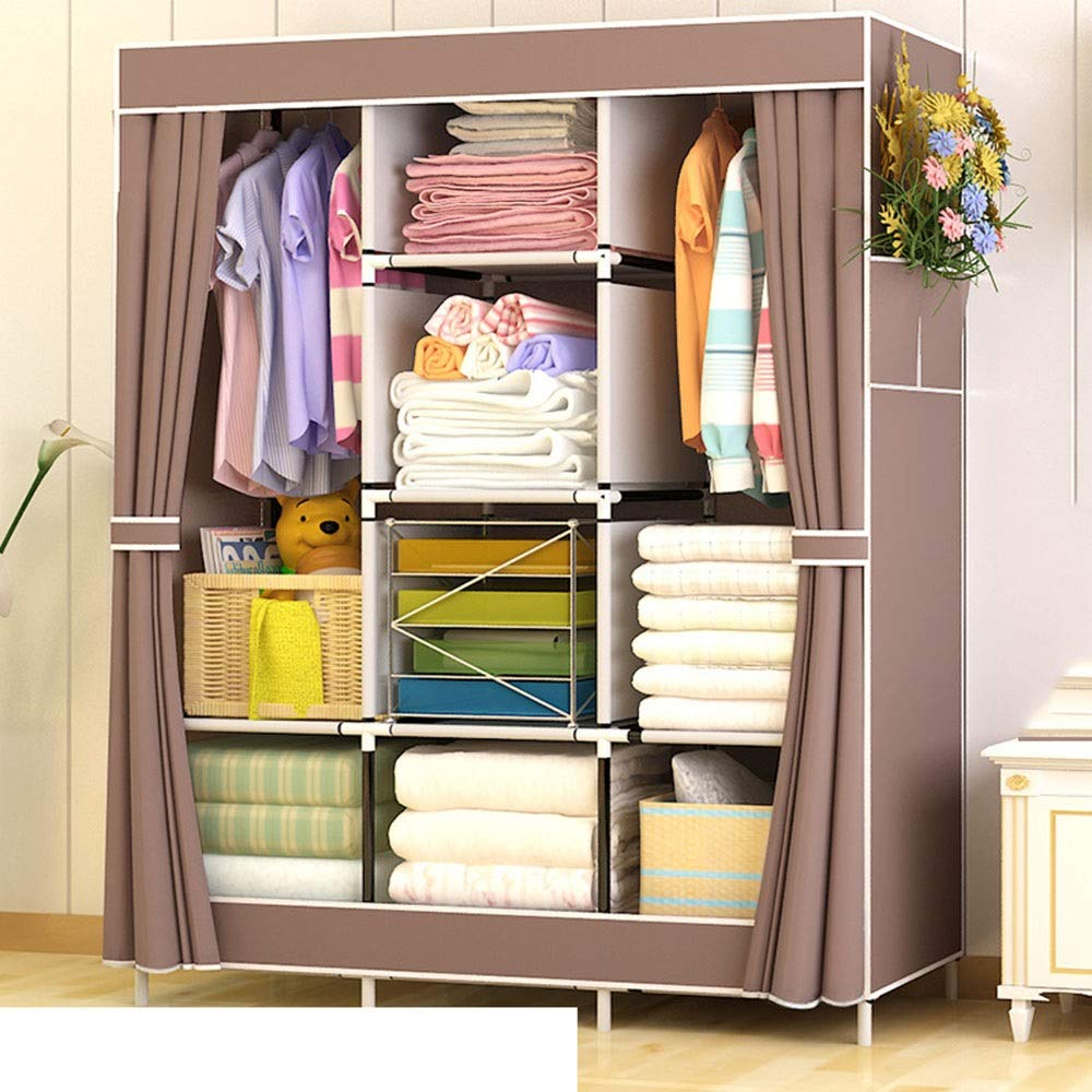 PPKQ Closet Wardrobe Portable Clothes Storage Organizer for Keeping Clothing Safe, Dust-Proof Cover (Color : C) by PPKQ