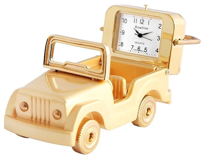 royaltime Analog Reloj en miniatura mesa Reloj Reloj de pie con mecanismo de cuarzo y diseño todoterreno 300402000032 Oro Coloreado Carcasa 7,8 cm: ...