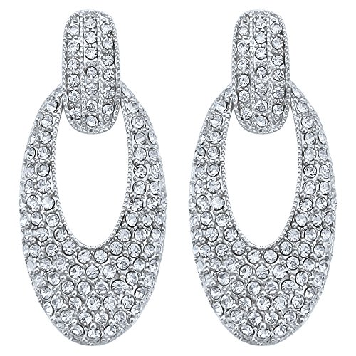 Oval Personalized Ring (DMI Unique Jewelry Alloy Crystal Hollow Oval Shape Dangle Earrings Silver-Color)