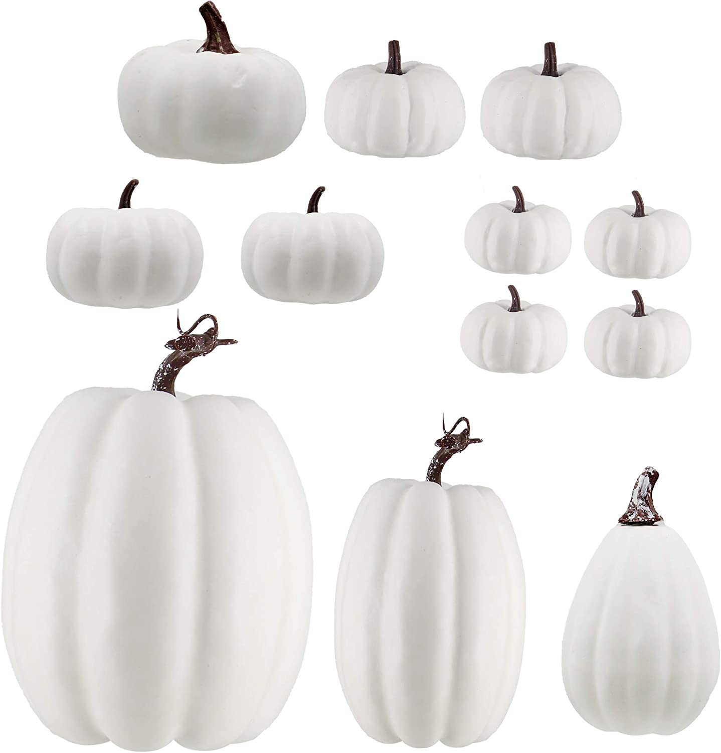 winemana 12 Pack Thanksgiving White Pumpkin Decorations, 6 Sizes Artificial Pumpkins Fall Autumn Decor for Fireplace Kitchen Thanksgiving Party Harvest Day