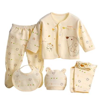 4927d22f6 5PCS Newborn Baby Boy Girl Cartoon Long Sleeve Tops+Hat+Pants +Bib Outfit