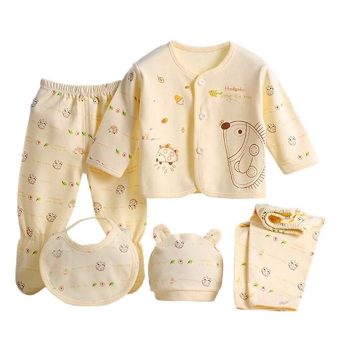 Amazon.com: 5PCS Newborn Baby Boy Girl Cartoon Long Sleeve Tops+Hat+ ...