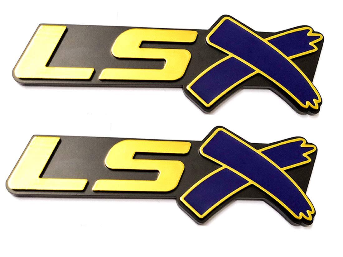 Gold blue Aruisi 2 pcs LSX Emblem Badge 3D Self-adhesive Nameplate Sticker Replacement for Chevy Camaro Corvette LS LT ZL SS Silverado