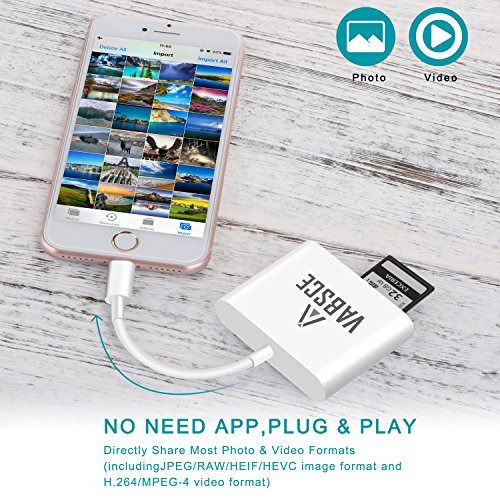 CF Card Reader, Lightning SD/TF/CF Card Adapter, Trail Game Camera Viewer for iPhone X/8 Plus/8/7 Plus/7/6s Plus/6s/6 Plus/iPad Mini/Air, Support iOS 11.3 and Before, No App Required, Plug and Play by VABSCE (Image #6)