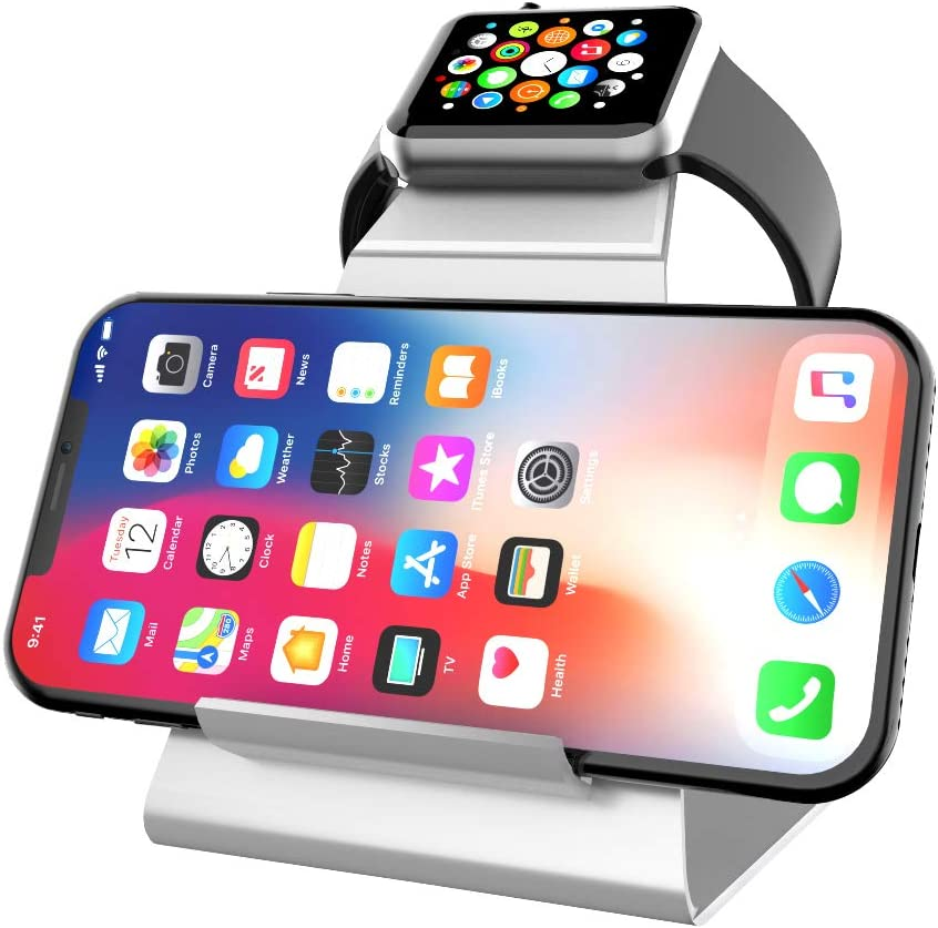 XUNMEJ Watch Stand for Apple Watch Charging Dock Stand Bracket Station Holder for Apple Watch Series 4 3 2 1(42mm 38mm) Phone Xs X Max XR X 8 8plus 7 7plus 6S 6plus (Sliver)