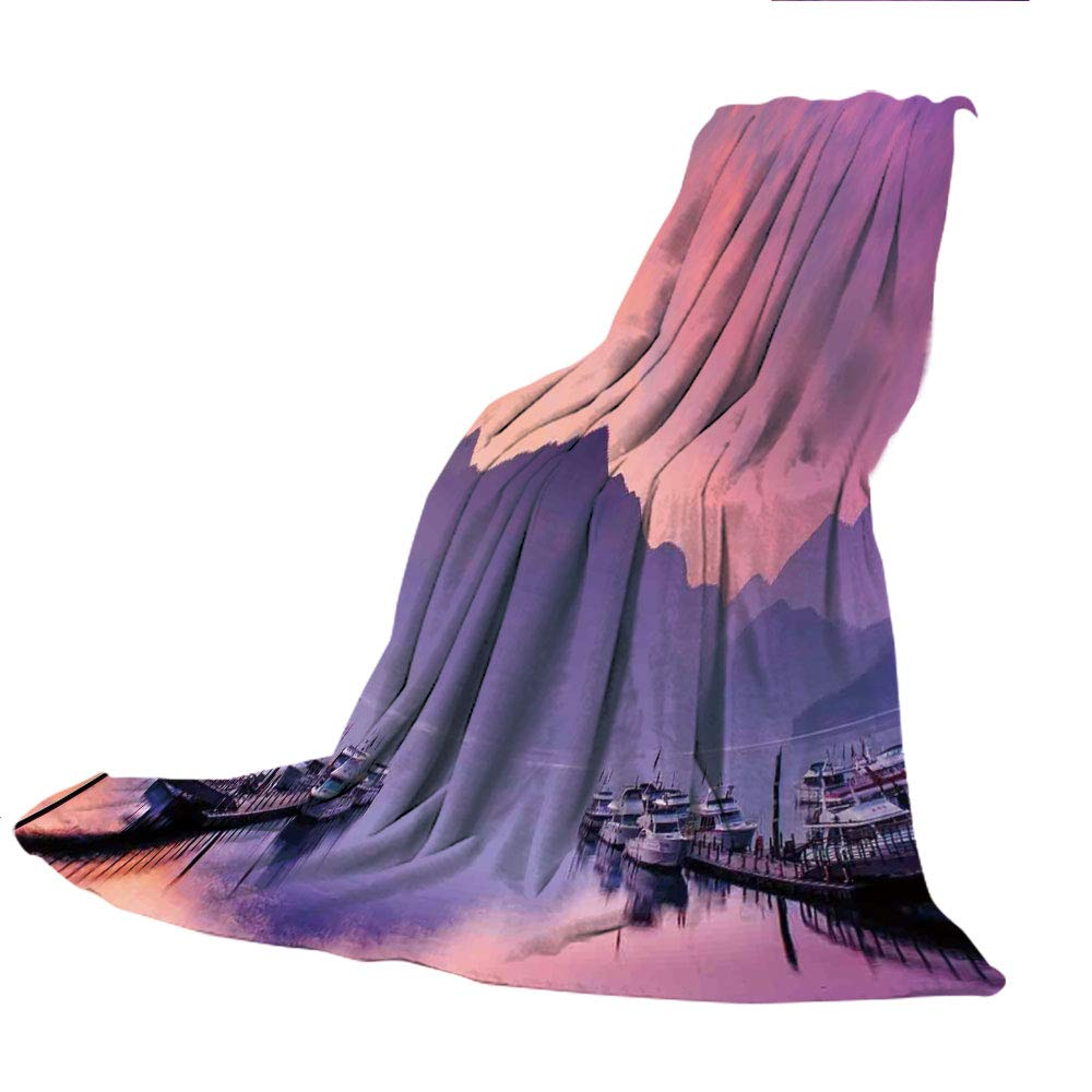SCOCICI Comfortable Extra-Thick Blanket, Double-Sided Printing,Lake House Decor,Summer Sunny Morning on The Sassolungo Langkofel and Sella Group Valley Gardena,Green Blue,31.50' W x 68.90' H