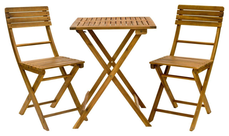 Exaco FM Bistro Balcony Furniture Set - Folding Table & 2 Folding Chairs
