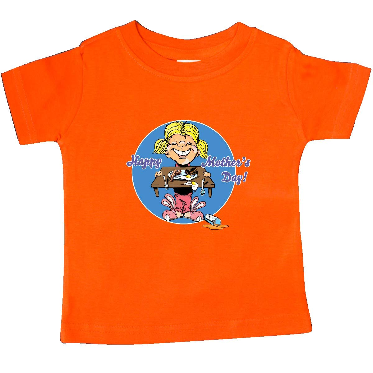 inktastic Happy Mothers Day Blond Haired Daughter with Breakfast Baby T-Shirt