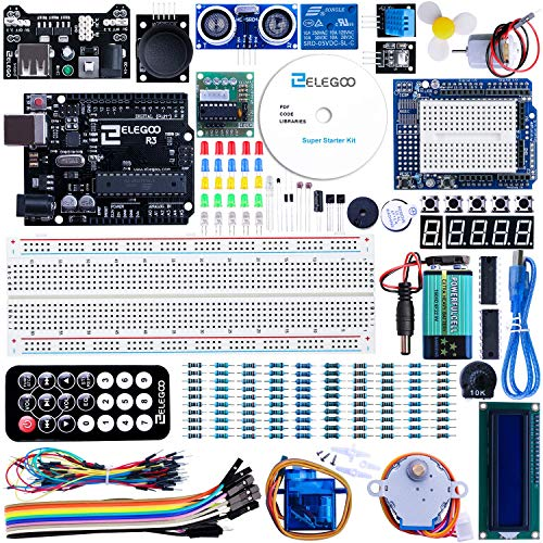ELEGOO UNO Project Super Starter Kit with Tutorial, UNO R3 Controller Board, LCD1602, Servo, Stepper Motor, Relay etc. for Arduino Projects ()