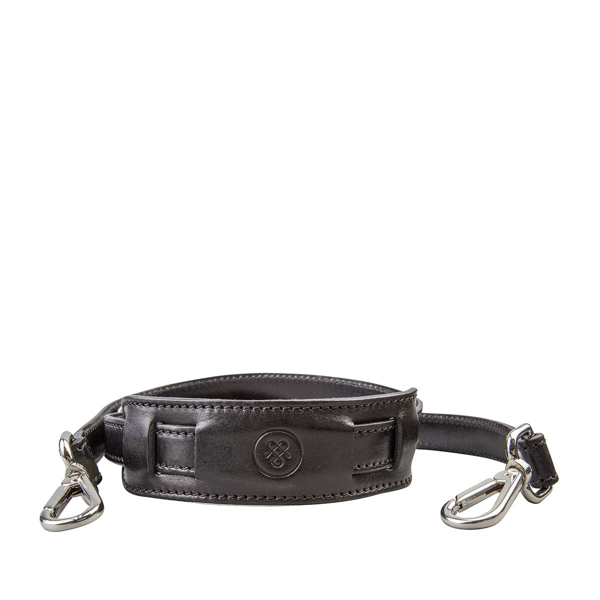 Maxwell Scott Personalized Luxury Black Leather Luggage Shoulder Strap - One Size