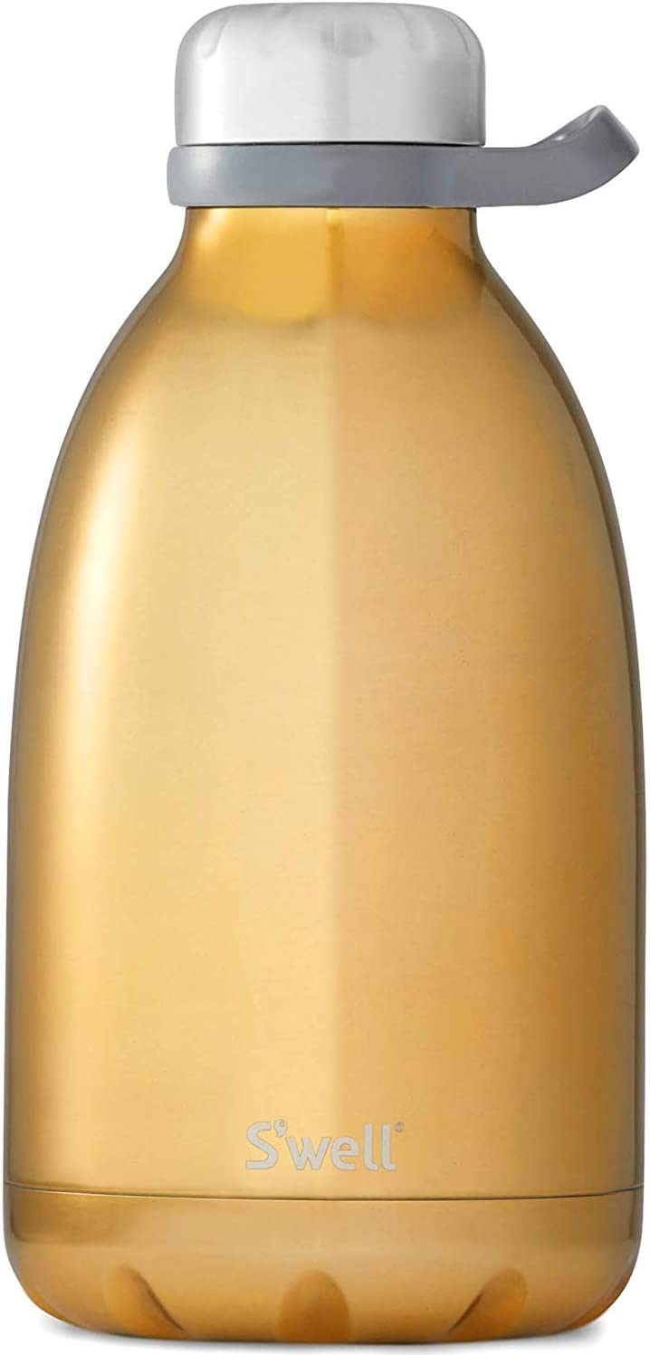 S'well Stainless Steel Roamer Bottle - 64 Fl Oz - Yellow Gold - Triple-Layered Vacuum-Insulated Containers Keeps Drinks Cold for 81 Hours and Hot for 29 - with No Condensation - BPA Free Water Bottle