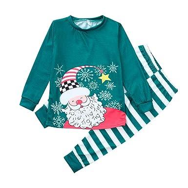 K-youth Ropa Familiar Navidad Manga Larga Santa Claves Impresión Camisetas Tops y Pantalones Ropa de Dormir de Navidad para Familia: Amazon.es: Ropa y ...