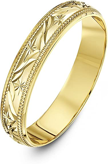 Theia Anillo de Bodas de Oro Amarillo o Oro Blanco, 9k, Super Peso Pesado Forma D, Diseño de Hoja, 4-6mm: Amazon.es: Joyería