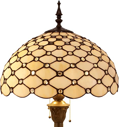 Tiffany Floor Lamp W16H64 Inch Tall Amber Stained Glass Crystal Pear Bead Lampshade S005 WERFACTORY LAMPS Lover Gifts Antique Style Standing Read Lighting Base Living Room Bedroom Bedside Coffee Table