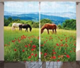 Ambesonne Animal Decor Curtains by, Various Kinds of Horses Eating Grass in The Field with Mountain Landscape Rural Scene Print, Living Room Bedroom Decor, 2 Panel Set, 108 W X 84 L Inches, Multi