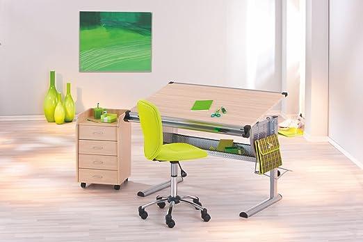 Mesa de escritorio con cajonera con ruedas de madera de arce y de ...
