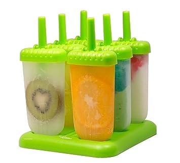 HelpCuisine® Molde para helados/Moldes de polos - Juego de seis unidades sin BPA y aprobado por FDA. 24 meses de Garancia! (Verde): Amazon.es: Hogar