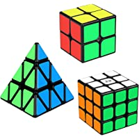 Aiduy Speed Cube Set, Triangle Cube Pyramid Cube 2x2 3x3 Smooth Magic Cube Puzzle Bundle for Kids, 3 Pack