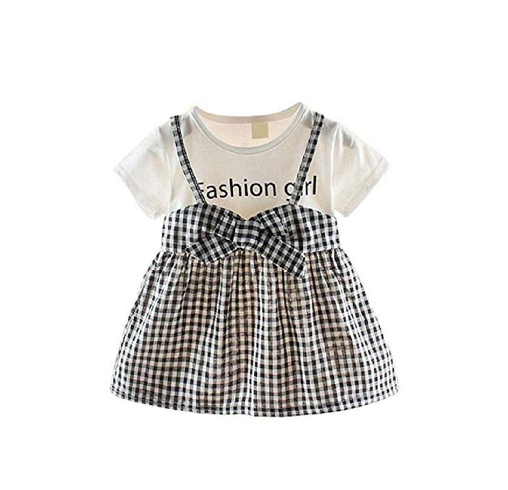 WPNAKS Infant Toddle Baby Girls Dress Short Sleeve Fake Two Piece Bowknot Summer Strap Skirts