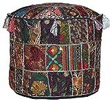 Boho Hipplie Handmade Round Pouf Cover Vintage Cotton Ottoman Patchwork Footstool