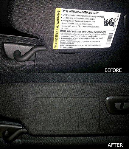 C7 Corvette Stingray/Z06/Grand Sport 2014+ Airbag Warning Cover Overlays - OEM Fabric (Pair) Visor Overlay
