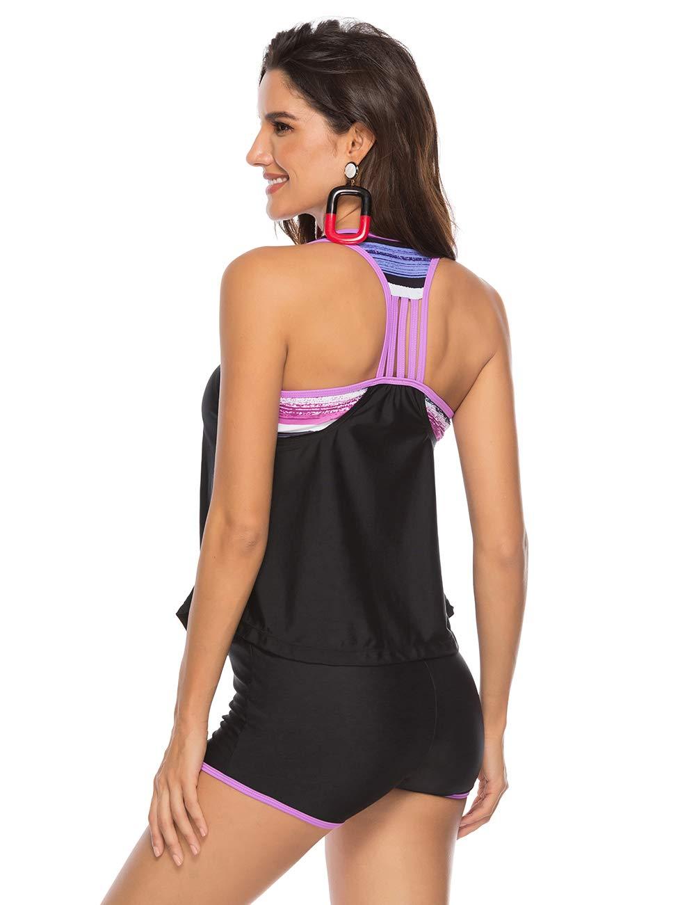 JOYMODE Womens 3 Pieces Athletic Swimwear Sports Swimsuit Set with Boyshort