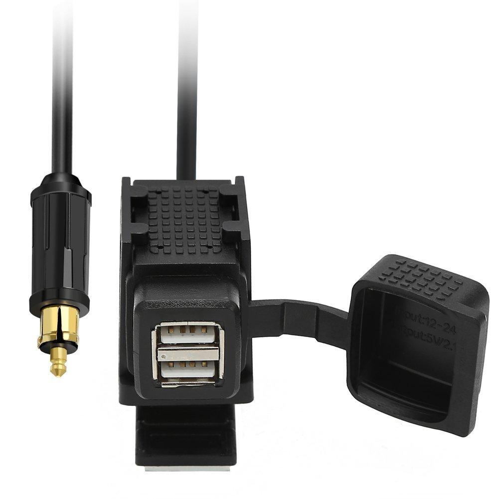 Rupse BMW Moto Adaptateur Dual Chargeur USB 12 V/24 V, 5 V/2.1 A impermé able pour allume cigare avec prise powerlet DIN HELLA 5V/2.1A imperméable pour allume cigare avec prise powerlet DIN HELLA