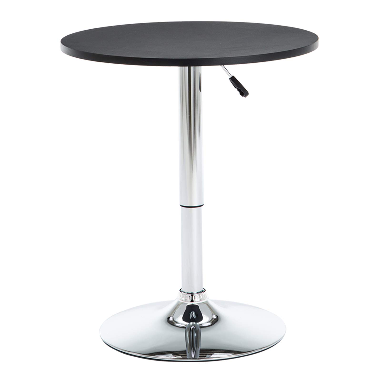 Round Bar Table, Height Adjustable Pub Table, Swivel Cocktail Table with MDF Black Round Top and Chromed Metal Base. by GOTMINSI