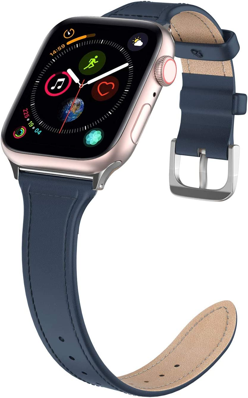 Polaland Leather Band for iWatch, Business Men iWatch Replacement Strap with Metal Buckle Compatible for iWatch 40mm (Series 6/5/4) & 38mm (Series 3/2/1) - Navy