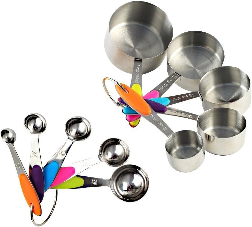 18tlg Edelstahl Messbecher Cups Messlöffel Messung Tassen Löffel  Küchengeräte